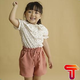 Đồ bộ cho bé gái áo trắng Hoa nhí HỒNG Quần HỒNG set trang phục bé gái từ 1-6 TUỔI 12-27KG-TANOSAKIDS