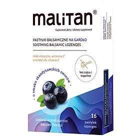 Viên ngậm bổ phế, dịu ho Malitan giảm rát họng, khản tiếng, không đường (Dùng cho người tiếu đường) giảm ho an toàn, hiệu quả - Hộp 2 vỉ x 8 viên
