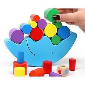Đồ chơi gỗ - Đồ chơi thăng bằng gỗ Mặt Trăng - Xúc xắc- Trò chơi tương tác