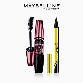 [Bộ trang điểm] Bút kẻ mắt nước siêu sắc mảnh không lem, không trôi Hyper Sharp + Mascara Dài Mi và Cong Mi Hyper Curl Maybelline New York
