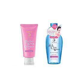 Combo 2 sản phẩm Sữa Rửa Mặt Ẩm Mịn Và Săn Chắc Da Senka Perfect Whip Collagen In và Nước tẩy trang SENKA A.L.L. CLEAR WATER Micellar Formula White 230ml