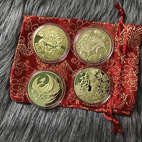 Combo 4 xu tứ linh Rồng Phụng Lân Cá Chép tặng túi gấm, dùng để trang trí, làm dây chuyền đeo hoặc treo trên xe ôtô - SP001821