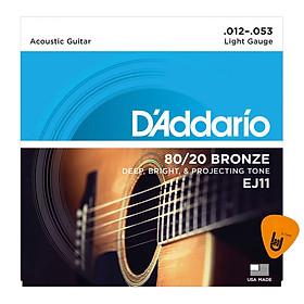D'Addario EJ11 - Bộ Dây Đàn Acoustic Guitar Cỡ 12 (.012-.053) - Chính Hãng (80/20 Bronze Strings) - Kèm Móng Gảy DreamMaker