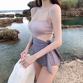 Bộ bikini đi biển, đồ bơi cạp cao hai mảnh cao cấp thắt nơ che bụng ANA - GIN SHOP