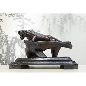 Tượng gỗ mỹ nghệ- Báo săn vồ mồi- gỗ trắc đỏ đen