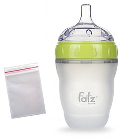 Bình sữa silicone cao cấp Fatz baby 180ml + tặng 5 túi zipper 18x23cm