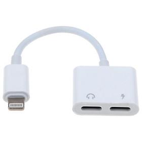 Dây Cáp Chuyển Đổi 2 Cổng Lightning Sạc Và Tai Nghe Cho iPhone X 8/8 Plus 7/7Plus - Trắng