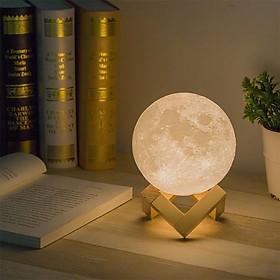 Đèn ngủ điều khiển từ xa ,cảm ứng ( chạm, vỗ) đổi 16 màu mặt trăng 3D