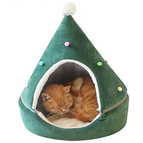 Cute Pet Cat Dog House Christmas Tree Shape Washable Winter Warm Sleeping Nest Bed