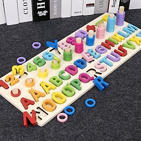 Đồ chơi gỗ, đồ chơi giáo dục bảng số Tiếng Việt cho bé học đếm số, cột tính bậc thang và bảng chữ cái, đồ chơi gỗ giúp phát triển trí não  – Tặng Kèm 1 bộ tranh ghép 3D