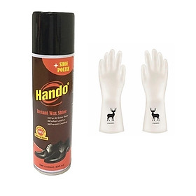 Chai xịt bóng bảo dưỡng giày da Hando 300ml + Tặng 1 đôi găng tay cao su siêu dai con hươu (Họa tiết ngẫu nhiên)