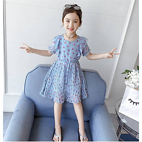 Đầm von xếp ly cho bé gái hàng quảng châu 3 -14 tuổi - AA16