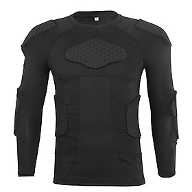 Men Padded Compression Shirt Multiple Pad Protective Gear for Football Baseball Soccer Basketball Volleyball Training-6