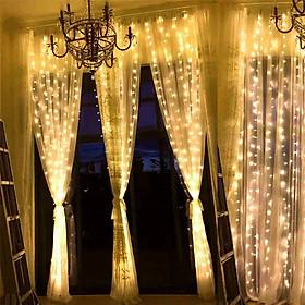 Dây đèn rèm trang trí mưa rơi vàng ấm chớp nháy 8 chế độ kích thước 3m x 3m