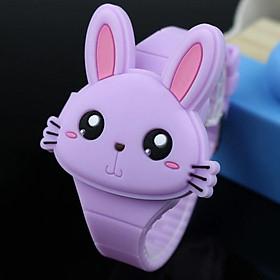 Đồng Hồ Bé Gái Hoạt Họa Thỏ Rabbit Dây Silicon Mềm Mại