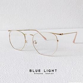 Kính Giả Cận, Gọng Kính Cận Nam Nữ Mắt Vuông Gọng Vàng Không Độ Hàn Quốc - BLUE LIGHT SHOP