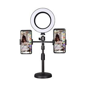 (SIÊU HOT)- Giá Đỡ 2 Điện Thoại Có Đèn Led LiveStream, Kẹp Điện Thoại Để Bàn Quay Video Với Đèn Led 3 Màu
