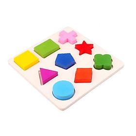 Bộ ghép hình gỗ 9 miếng hình học cho bé - Đồ chơi gỗ giúp bé phát triển kỹ năng