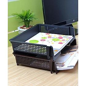 Combo Hộp 3 ngăn đựng bút, điều khiển màu nâu + Khay đựng tài liệu A4 nội địa Nhật Bản