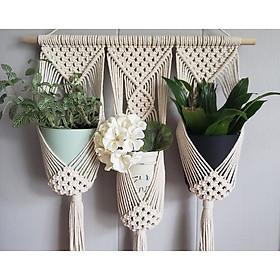 Bộ dây treo trang trí 3 chậu cây cảnh lọ hoa macrame handmade m01