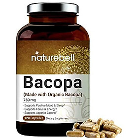 Bacopa Capsules 750mg (Made with Organic Bacopa), 120 Counts, Nootropics for Brain Booster for Enhanced Mental Focus and Memory, Non-GMO and Made in USA