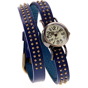 Women Lady Vintage Quartz Wrist Watch Rivets Round Bronze Wrap Strap Bracelet