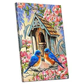 Tranh sơn dầu số hóa tự tô đã căn khung 40x50cm- chim sẻ hoa đào