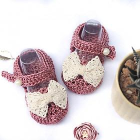 Giày dép bé gái - Xăng đan hồng nơ ren