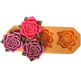 Khuôn rau câu silicon 3 hoa hồng kèm lá
