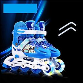 Giày trượt Patin bánh có đèn flash, tặng kèm bảo hộ đầu gối và tay