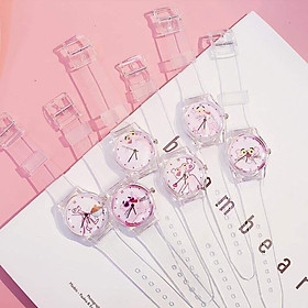 (ngẫu nhiên) Đồng hồ thời trang nữ Unisex Bh1 dây nhựa trong siêu cá tính