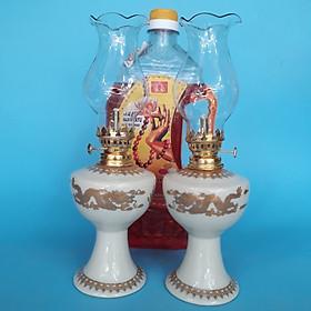 Cặp đèn thờ (vàng kem) sứ Bát Tràng kèm 1 dầu đốt Lưu Ly không mùi không khói