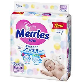 Combo 3 Tã Dán Merries Size SS 90 Miếng Bao Bì Mới (Cho Bé dưới 5Kg)-1