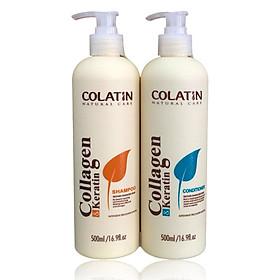 Bộ dầu gội xả dưỡng chất tơ tằm Collagen COLATIN Shampoo & Conditioner 500ml
