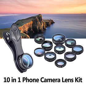 APEXEL 10 in 1 Phone Camera Lens Kit with 0.63X Wide Angle + 15X Macro + 198°Fisheye + 2X Telephoto + CPL + Star Filter