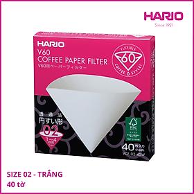 Giấy Lọc Cà Phê Hario V60 Size 02 - 40 tờ - VCF-02- 40W