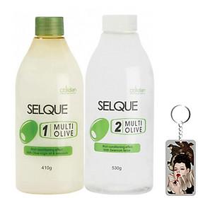Thuốc uốn lạnh oliu Obsidian Professional Selque Multi Olive Perm Hàn Quốc 410g/530ml tặng kèm móc khoá