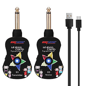 B9 Wireless Guitar System Rechargeable 4 Channels Guitar Transmitter Receiver Set Electric Guitar Bass Pick Up