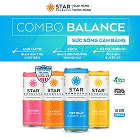Combo 4 lon mix vị Thức uống lên men STAR KOMBUCHA - Balance Pack (250ml/lon)