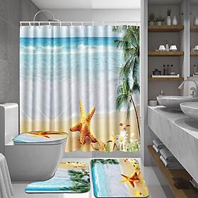 Bath Mat Set 4 Pcs Bathroom Rug Toilet Cover and Mat shower curtain