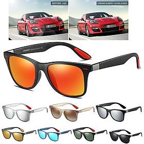 Men Square Color Mirror UV400 Polaroized Sunglasses for Sport Driving