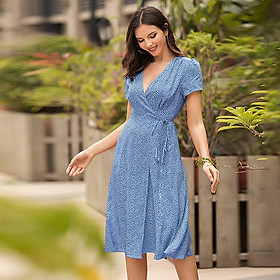 Women Deep V Neck Dress Wraparound High Waist Floral Elegant Vintage Boho Holiday Beach Casual Dress