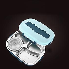 Hộp (Cà men) Đựng Cơm Văn Phòng 4 Ngăn Giữ nhiệt bằng Inox 304 Cao Cấp - Nắp đậy chống tràn _ Kèm muỗng đũa Inox