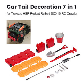 Car Tail Decoration 7 in 1 Self-Help Board Fuel Tank Box Bucket Antenna Fuel Box Shovel Lifting Jack for Traxxas HSP