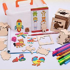 Bộ Khuôn Vẽ Bằng Gỗ Kèm Bút Màu Thỏa Sức Sáng Tạo - Tặng muỗng ăn cho bé