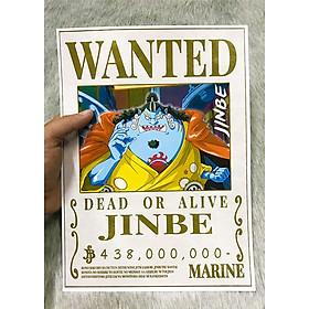 Poster One Piece Jinbe, Poster Lệnh Truy Nã Jinbe (Hình dán tường tiện lợi, Chất lượng Full HD)