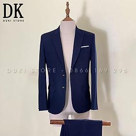 Bộ vest nam màu xanh than đẹp - DUKI STORE