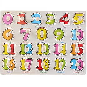Đồ chơi núm gỗ bảng chữ số cho bé