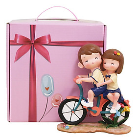 Gold torch bike couple ornaments birthday gift Valentine's Day wedding gift girl couple practical creative gift hardcover gift box models