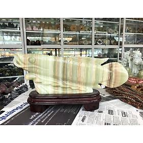 Tượng Cá Rồng phong thủy tài lộc đá ngọc Onyx - Dài 39 cm